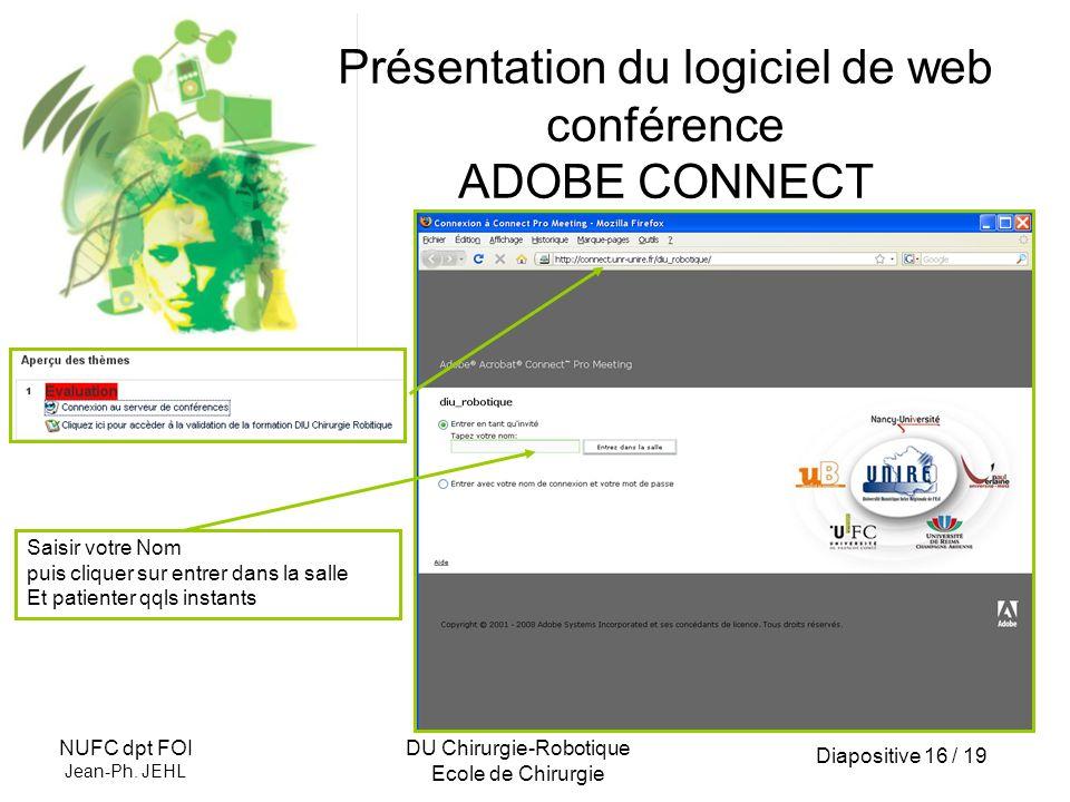 Diapositive 16 / 19 NUFC dpt FOI Jean-Ph. JEHL DU Chirurgie-Robotique Ecole de Chirurgie Présentation du logiciel de web conférence ADOBE CONNECT Sais