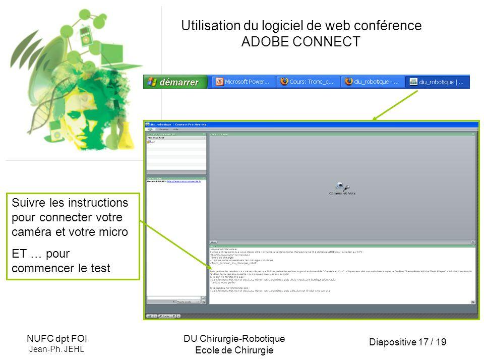 Diapositive 17 / 19 NUFC dpt FOI Jean-Ph. JEHL DU Chirurgie-Robotique Ecole de Chirurgie Utilisation du logiciel de web conférence ADOBE CONNECT Suivr