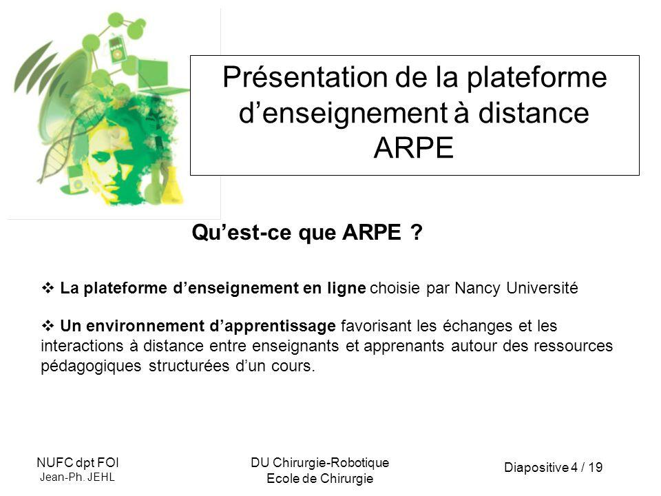 Diapositive 4 / 19 NUFC dpt FOI Jean-Ph. JEHL DU Chirurgie-Robotique Ecole de Chirurgie Présentation de la plateforme denseignement à distance ARPE La