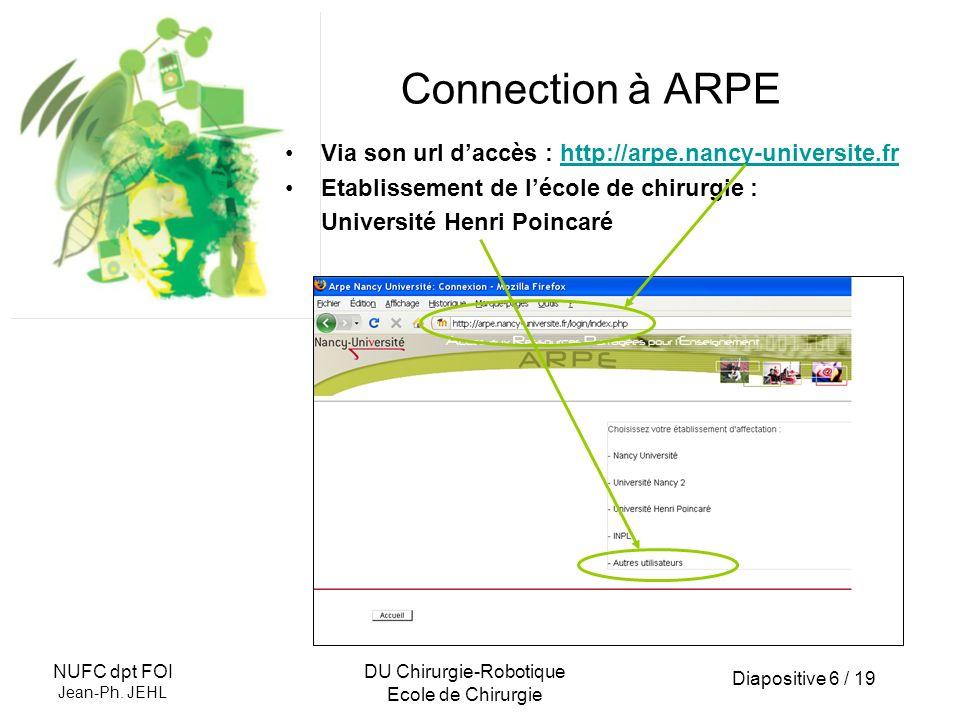 Diapositive 6 / 19 NUFC dpt FOI Jean-Ph. JEHL DU Chirurgie-Robotique Ecole de Chirurgie Via son url daccès : http://arpe.nancy-universite.frhttp://arp