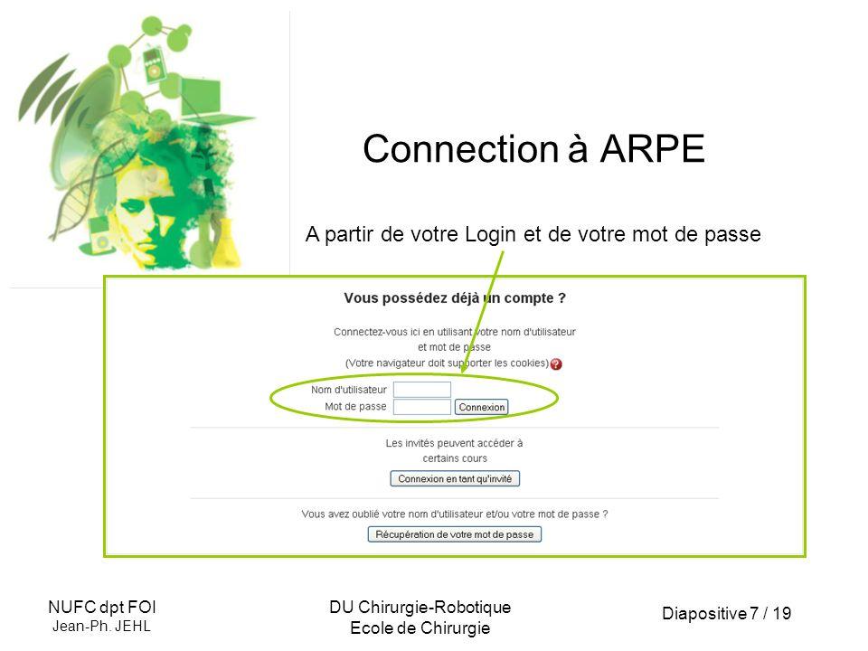 Diapositive 7 / 19 NUFC dpt FOI Jean-Ph. JEHL DU Chirurgie-Robotique Ecole de Chirurgie Connection à ARPE A partir de votre Login et de votre mot de p