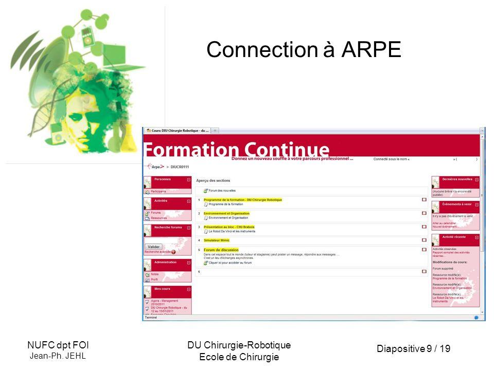 Diapositive 10 / 19 NUFC dpt FOI Jean-Ph.