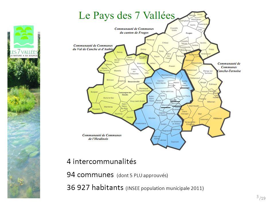 94 communes (dont 5 PLU approuvés) 4 intercommunalités 36 927 habitants (INSEE population municipale 2011) 3 /19