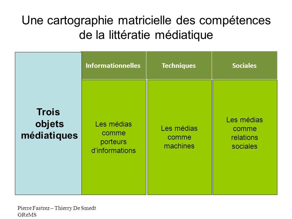 Une cartographie matricielle des compétences de la littératie médiatique InformationnellesTechniquesSociales Lire Ecrire Naviguer Organiser Pierre Fas