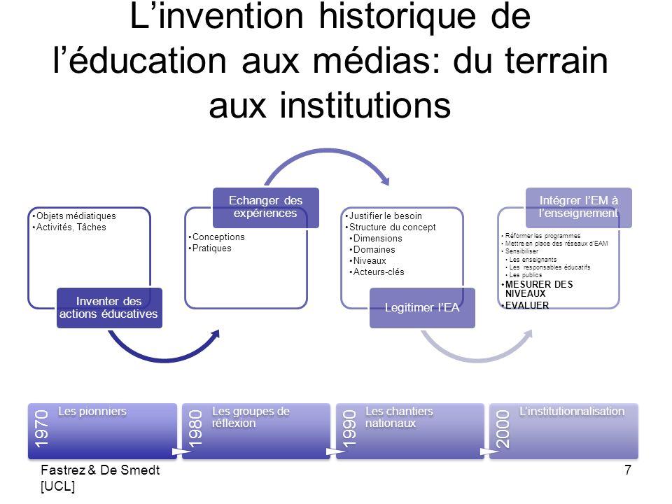 Linvention historique de léducation aux médias: du terrain aux institutions Objets médiatiques Activités, Tâches Inventer des actions éducatives Conce