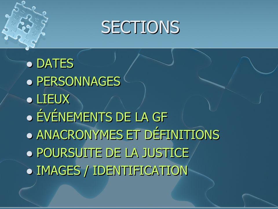 SECTIONS DATES PERSONNAGES LIEUX ÉVÉNEMENTS DE LA GF ANACRONYMES ET DÉFINITIONS POURSUITE DE LA JUSTICE IMAGES / IDENTIFICATION DATES PERSONNAGES LIEUX ÉVÉNEMENTS DE LA GF ANACRONYMES ET DÉFINITIONS POURSUITE DE LA JUSTICE IMAGES / IDENTIFICATION