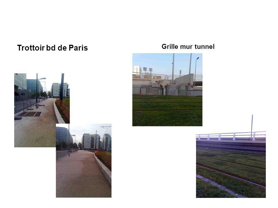Trottoir bd de Paris Grille mur tunnel