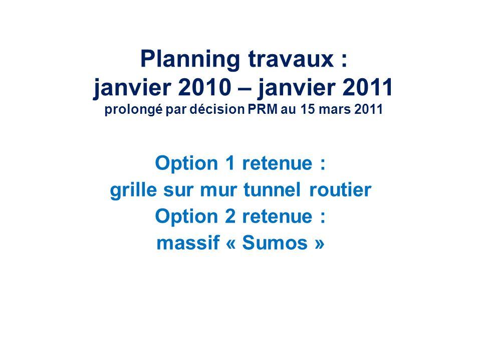 Planning travaux : janvier 2010 – janvier 2011 prolongé par décision PRM au 15 mars 2011 Option 1 retenue : grille sur mur tunnel routier Option 2 retenue : massif « Sumos »