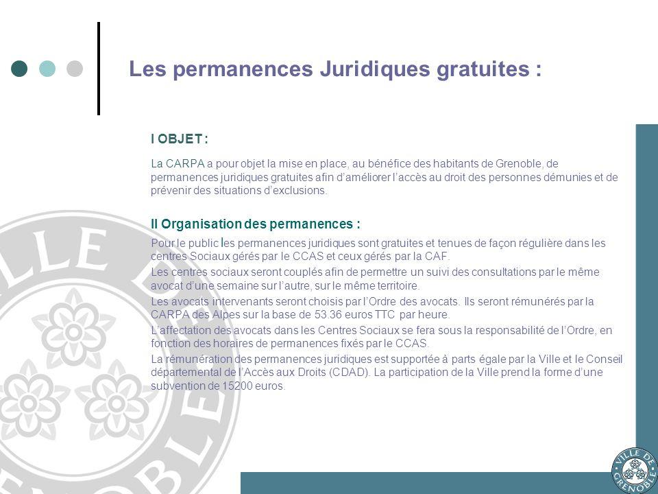 Les permanences Juridiques gratuites : I OBJET : La CARPA a pour objet la mise en place, au bénéfice des habitants de Grenoble, de permanences juridiques gratuites afin daméliorer laccès au droit des personnes démunies et de prévenir des situations dexclusions.