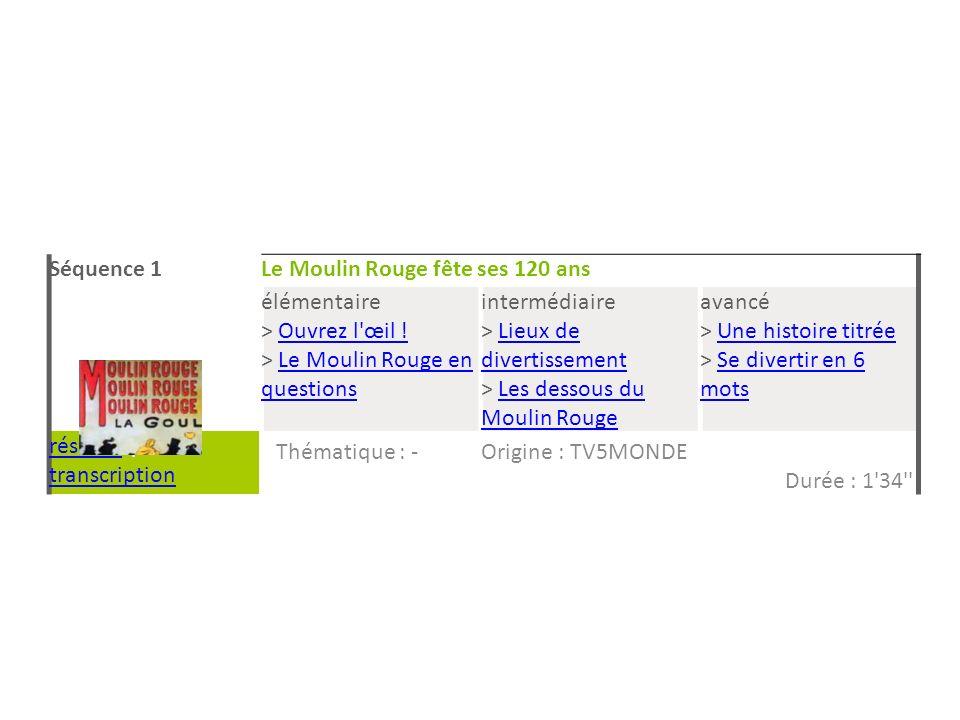 Séquence 1Le Moulin Rouge fête ses 120 ans élémentaire > Ouvrez l'œil !Ouvrez l'œil ! > Le Moulin Rouge en questionsLe Moulin Rouge en questions inter