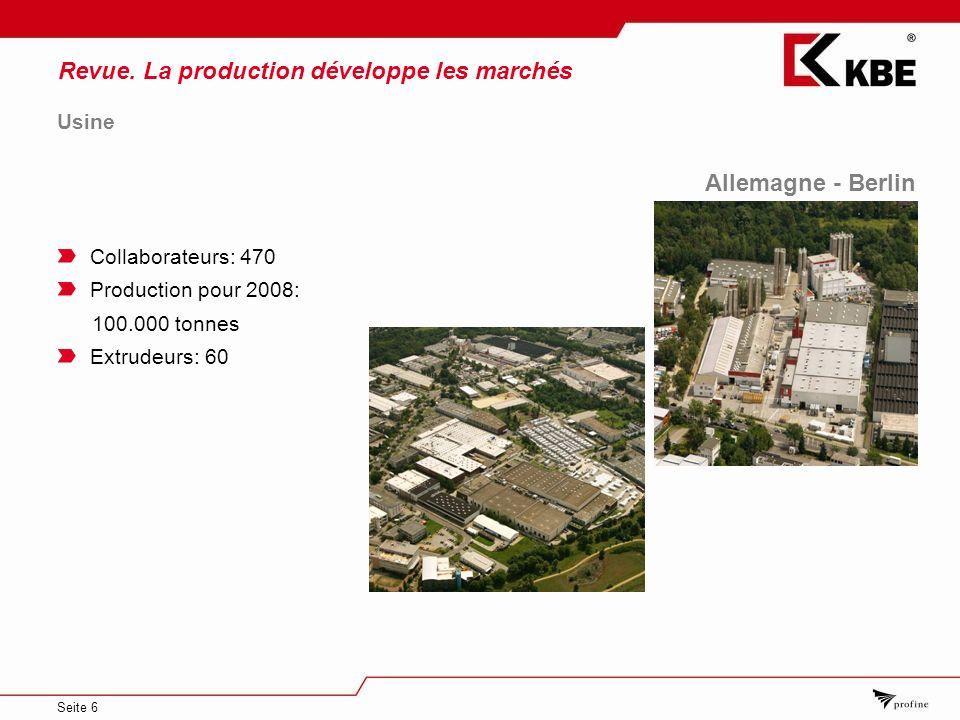 Seite 6 Allemagne - Berlin Usine Collaborateurs: 470 Production pour 2008: 100.000 tonnes Extrudeurs: 60 Revue.