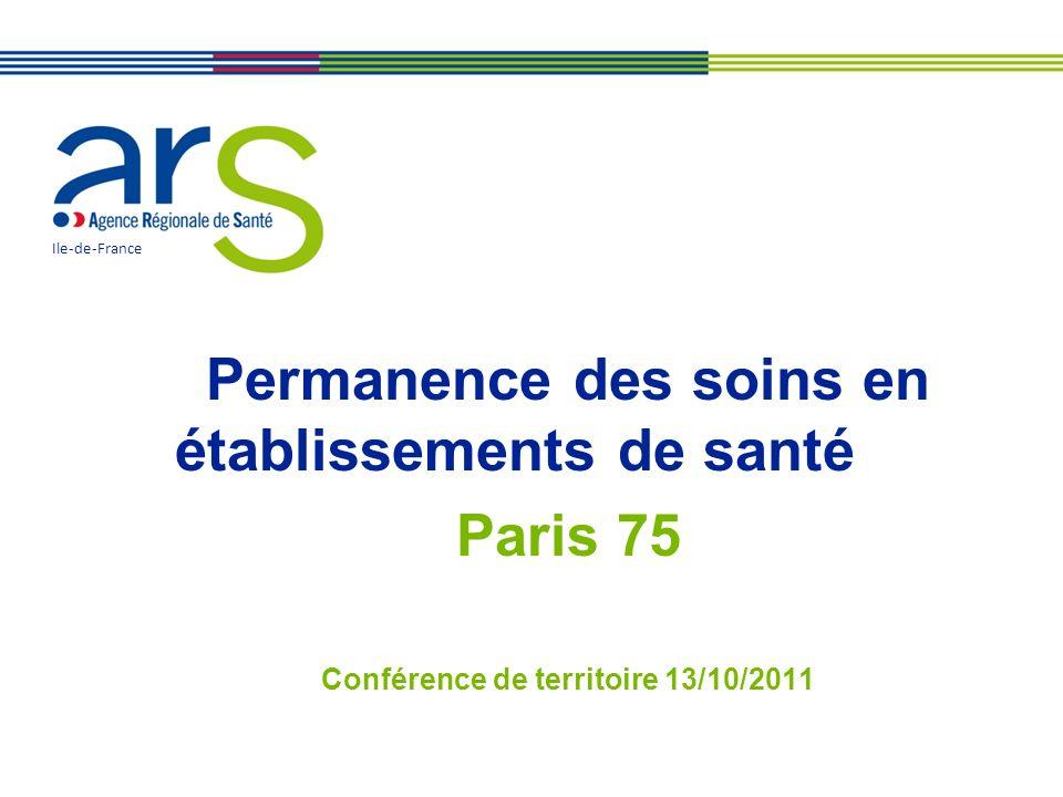 Permanence des soins en établissements de santé Paris 75 Conférence de territoire 13/10/2011 Ile-de-France