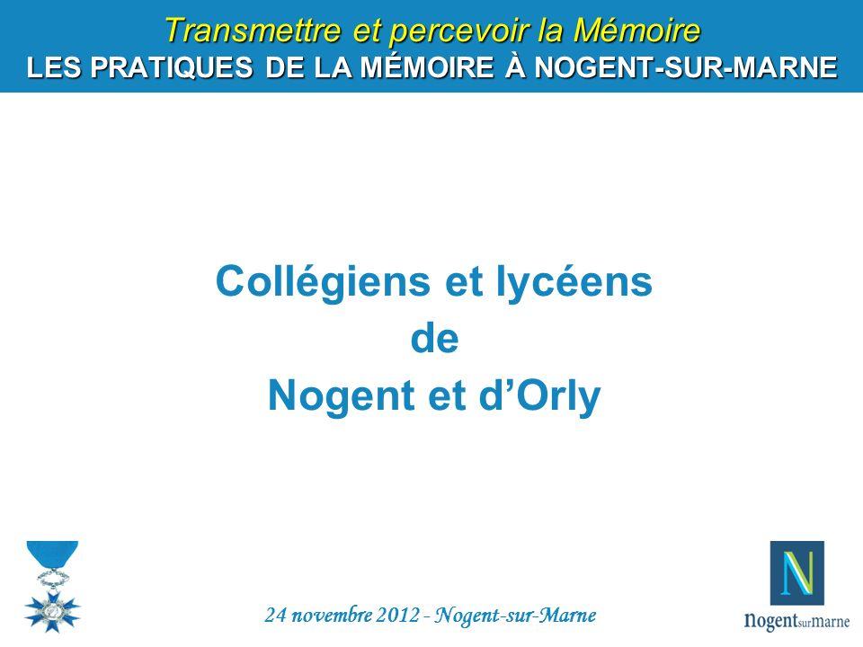 Collégiens et lycéens de Nogent et dOrly 24 novembre 2012 - Nogent-sur-Marne