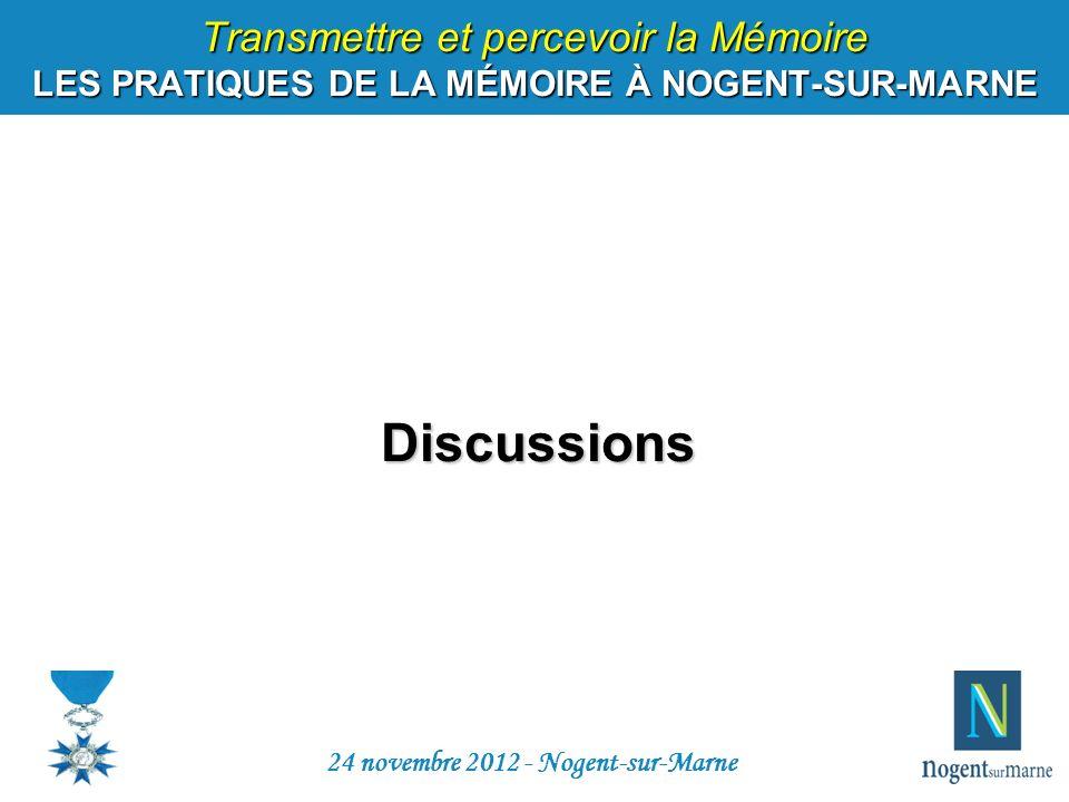 Transmettre et percevoir la Mémoire LES PRATIQUES DE LA MÉMOIRE À NOGENT-SUR-MARNE Discussions 24 novembre 2012 - Nogent-sur-Marne