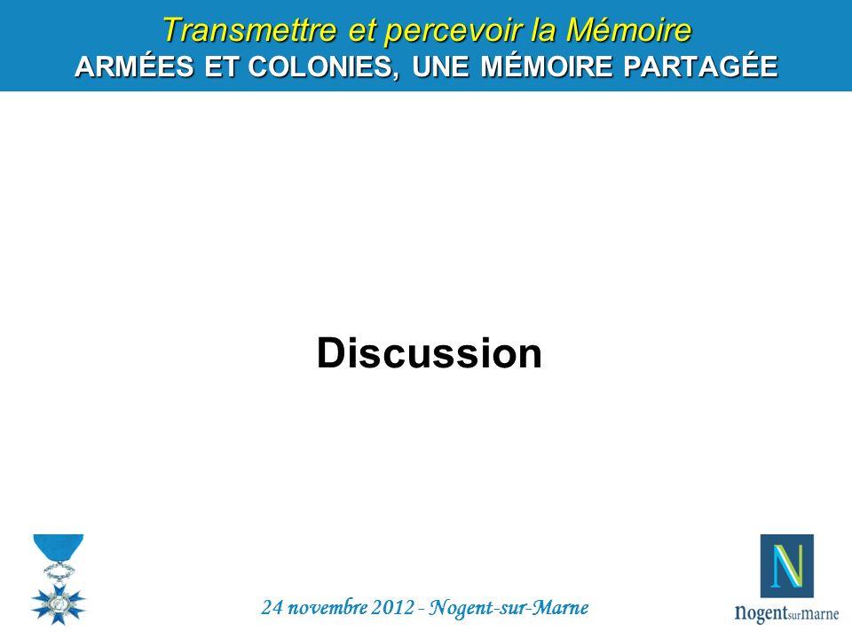 Transmettre et percevoir la Mémoire ARMÉES ET COLONIES, UNE MÉMOIRE PARTAGÉE Discussion 24 novembre 2012 - Nogent-sur-Marne