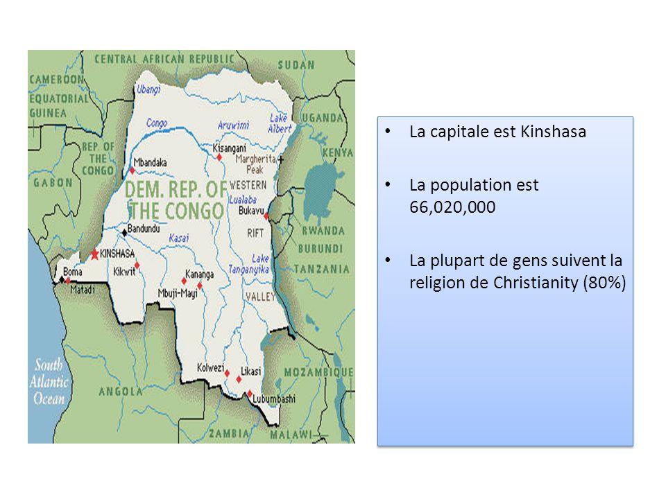 La capitale est Kinshasa La population est 66,020,000 La plupart de gens suivent la religion de Christianity (80%) La capitale est Kinshasa La populat