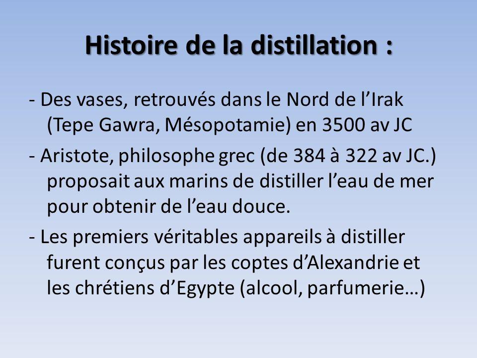 Histoire de la distillation : - Des vases, retrouvés dans le Nord de lIrak (Tepe Gawra, Mésopotamie) en 3500 av JC - Aristote, philosophe grec (de 384