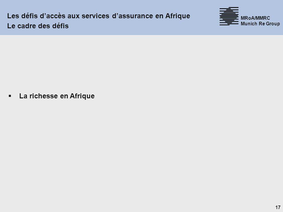 17 MRoA/MMRC Munich Re Group Les défis daccès aux services dassurance en Afrique Le cadre des défis La richesse en Afrique