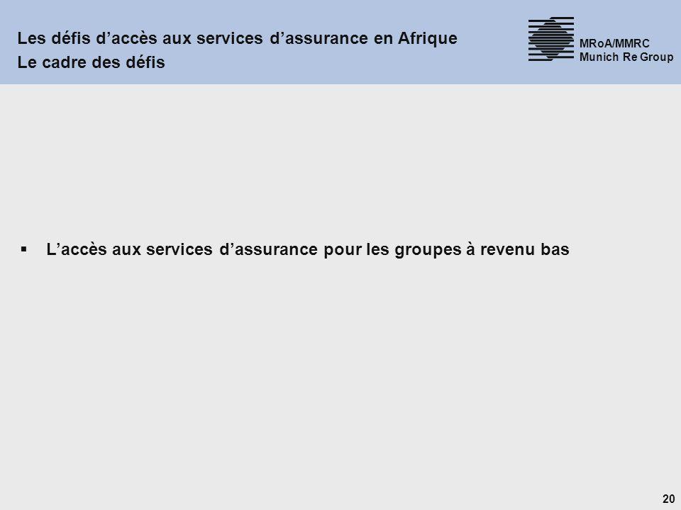 20 MRoA/MMRC Munich Re Group Les défis daccès aux services dassurance en Afrique Le cadre des défis Laccès aux services dassurance pour les groupes à revenu bas