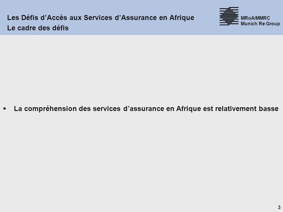 3 MRoA/MMRC Munich Re Group Les Défis dAccès aux Services dAssurance en Afrique Le cadre des défis La compréhension des services dassurance en Afrique est relativement basse