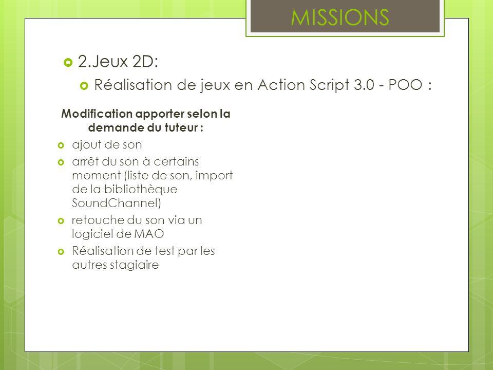 MISSIONS 2.Jeux 2D: Réalisation de jeux en Action Script 3.0 - POO : Modification apporter selon la demande du tuteur : ajout de son arrêt du son à ce