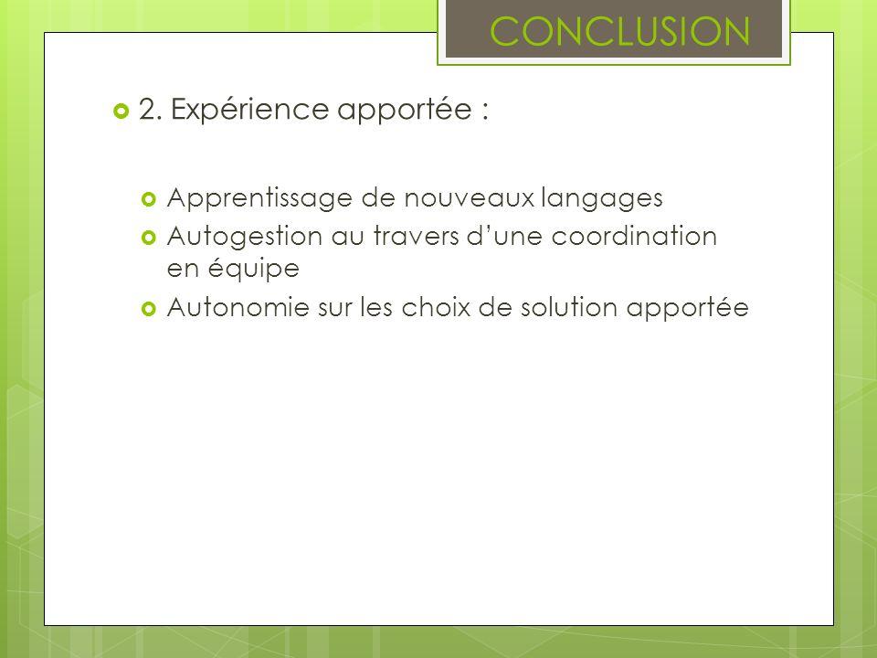 CONCLUSION 2. Expérience apportée : Apprentissage de nouveaux langages Autogestion au travers dune coordination en équipe Autonomie sur les choix de s