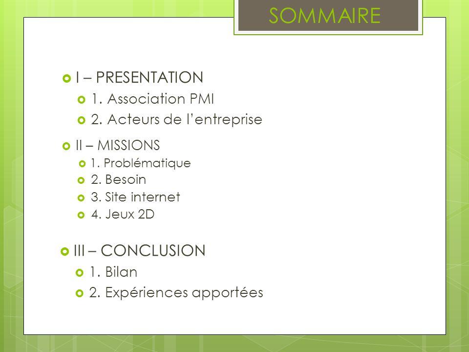 SOMMAIRE I – PRESENTATION 1. Association PMI 2. Acteurs de lentreprise II – MISSIONS 1. Problématique 2. Besoin 3. Site internet 4. Jeux 2D III – CONC