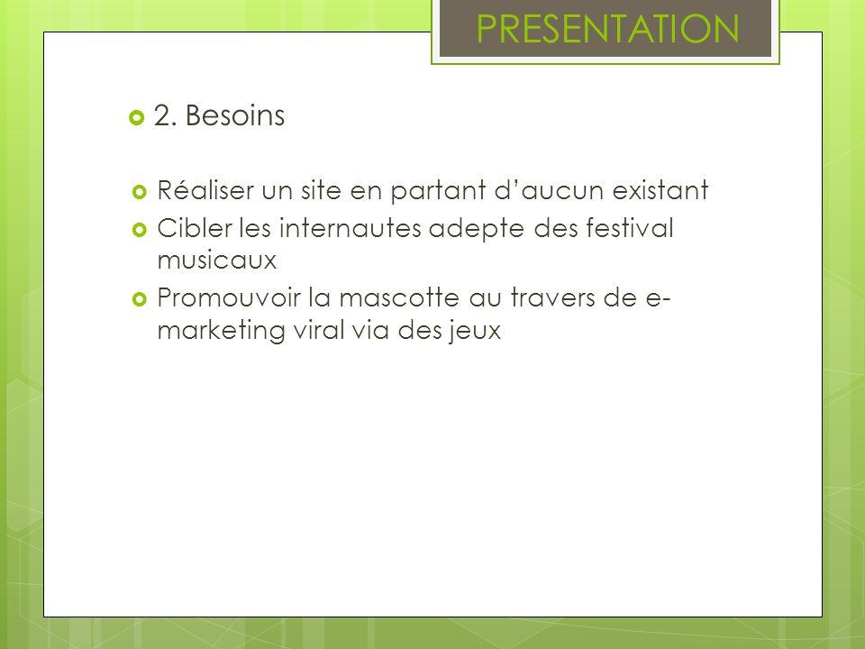 PRESENTATION 2. Besoins Réaliser un site en partant daucun existant Cibler les internautes adepte des festival musicaux Promouvoir la mascotte au trav