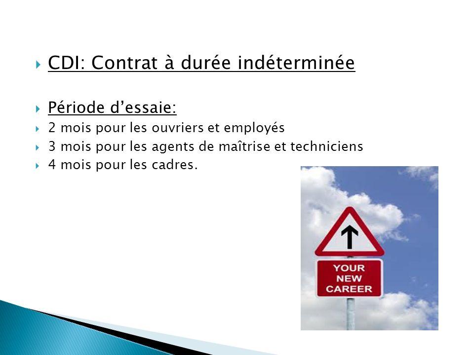 CDI: Contrat à durée indéterminée Période dessaie: 2 mois pour les ouvriers et employés 3 mois pour les agents de maîtrise et techniciens 4 mois pour