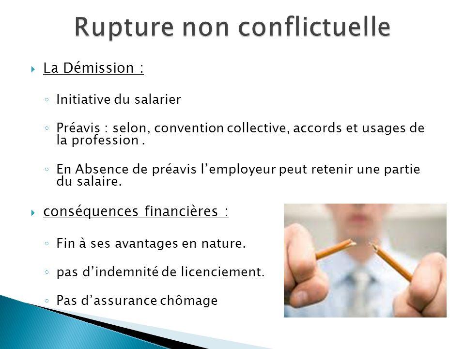 La Démission : Initiative du salarier Préavis : selon, convention collective, accords et usages de la profession. En Absence de préavis lemployeur peu