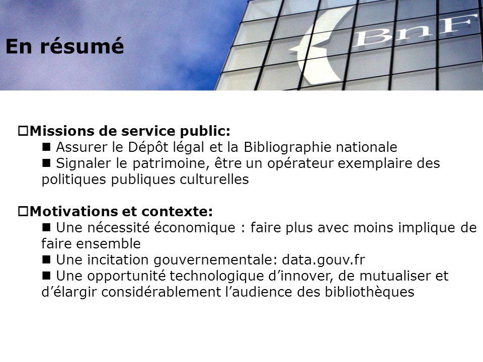 En résumé Missions de service public: Assurer le Dépôt légal et la Bibliographie nationale Signaler le patrimoine, être un opérateur exemplaire des po