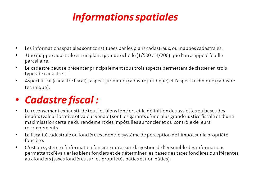 Informations spatiales Les informations spatiales sont constituées par les plans cadastraux, ou mappes cadastrales. Une mappe cadastrale est un plan à