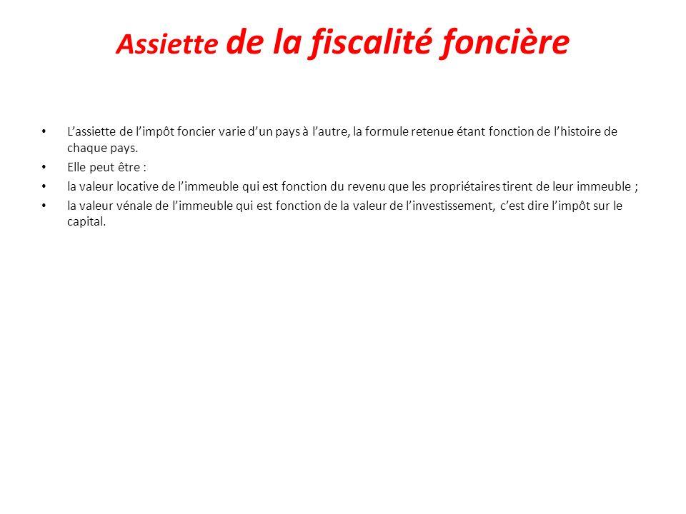 Assiette de la fiscalité foncière Lassiette de limpôt foncier varie dun pays à lautre, la formule retenue étant fonction de lhistoire de chaque pays.