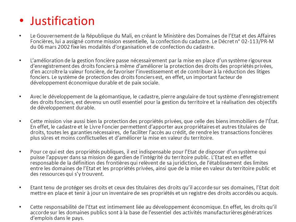 Justification Le Gouvernement de la République du Mali, en créant le Ministère des Domaines de lEtat et des Affaires Foncières, lui a assigné comme mi