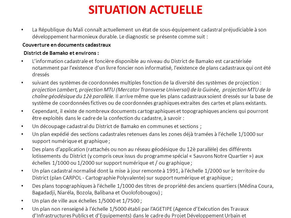 SITUATION ACTUELLE La République du Mali connaît actuellement un état de sous-équipement cadastral préjudiciable à son développement harmonieux durabl
