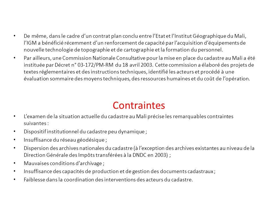 Contraintes De même, dans le cadre dun contrat plan conclu entre lEtat et lInstitut Géographique du Mali, lIGM a bénéficié récemment dun renforcement