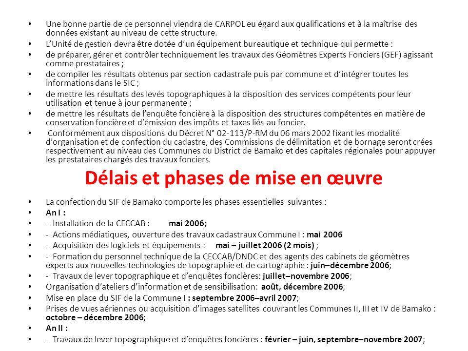 Délais et phases de mise en œuvre Une bonne partie de ce personnel viendra de CARPOL eu égard aux qualifications et à la maîtrise des données existant