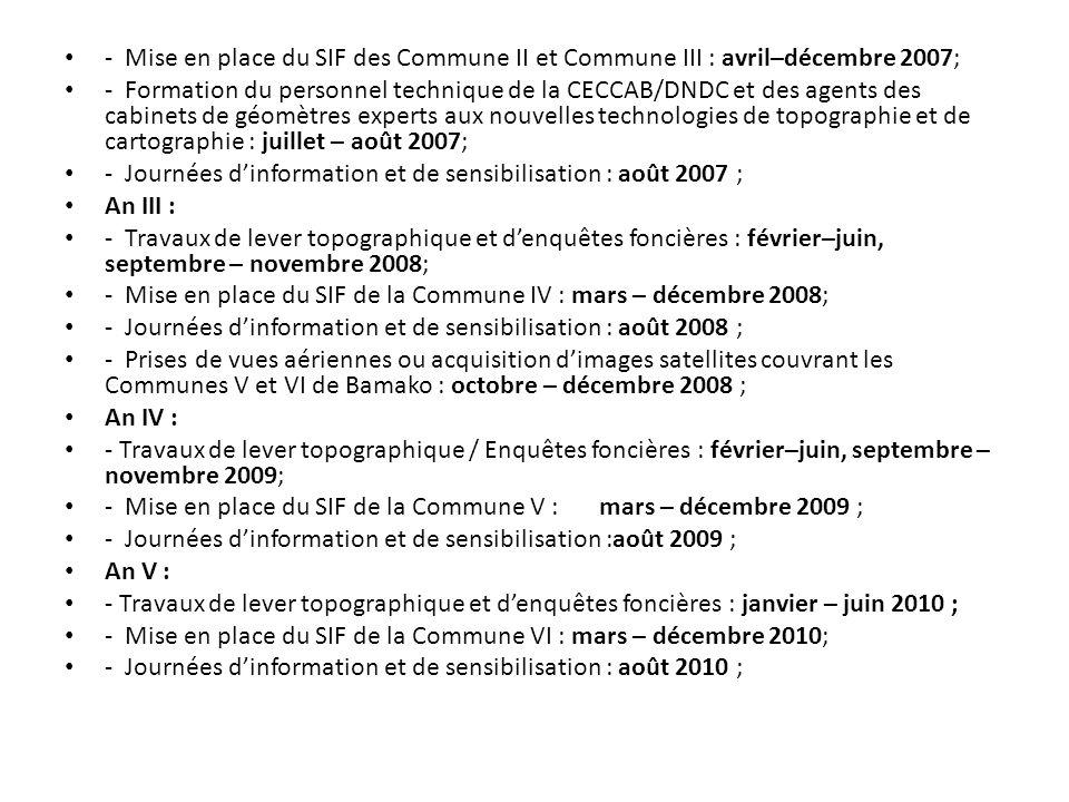 - Mise en place du SIF des Commune II et Commune III : avril–décembre 2007; - Formation du personnel technique de la CECCAB/DNDC et des agents des cab