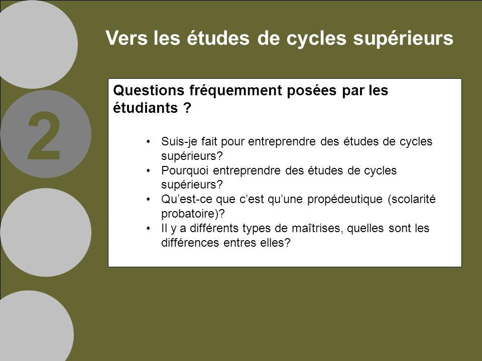 Vers les études de cycles supérieurs Questions fréquemment posées par les étudiants .
