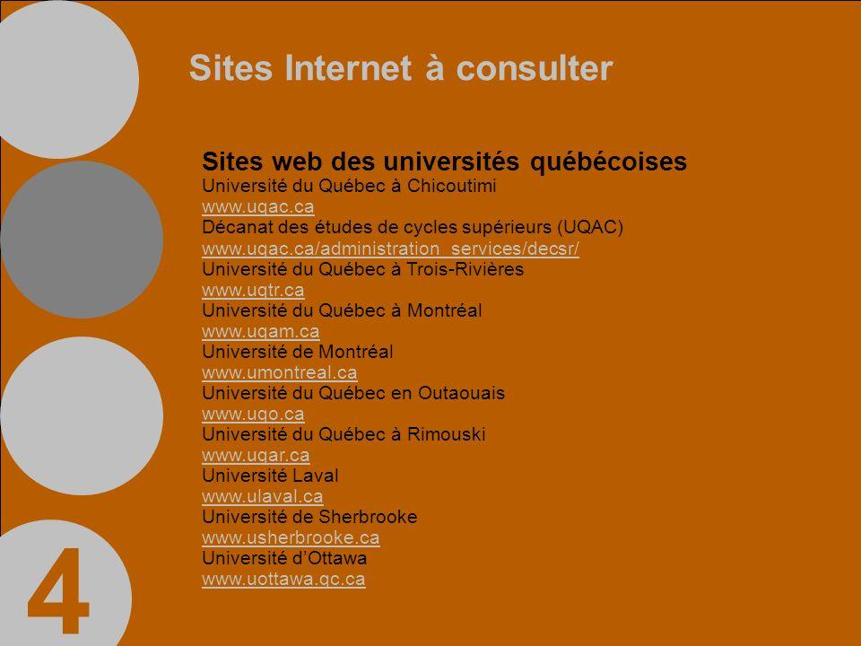 Sites Internet à consulter Sites web des universités québécoises Université du Québec à Chicoutimi www.uqac.ca Décanat des études de cycles supérieurs (UQAC) www.uqac.ca/administration_services/decsr/ Université du Québec à Trois-Rivières www.uqtr.ca Université du Québec à Montréal www.uqam.ca Université de Montréal www.umontreal.ca Université du Québec en Outaouais www.uqo.ca Université du Québec à Rimouski www.uqar.ca Université Laval www.ulaval.ca Université de Sherbrooke www.usherbrooke.ca Université dOttawa www.uottawa.qc.ca 4