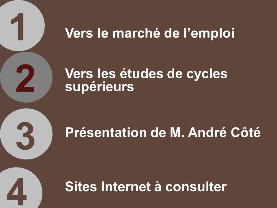 Sites Internet à consulter 1 2 3 4 Vers le marché de lemploi Vers les études de cycles supérieurs Présentation de M.