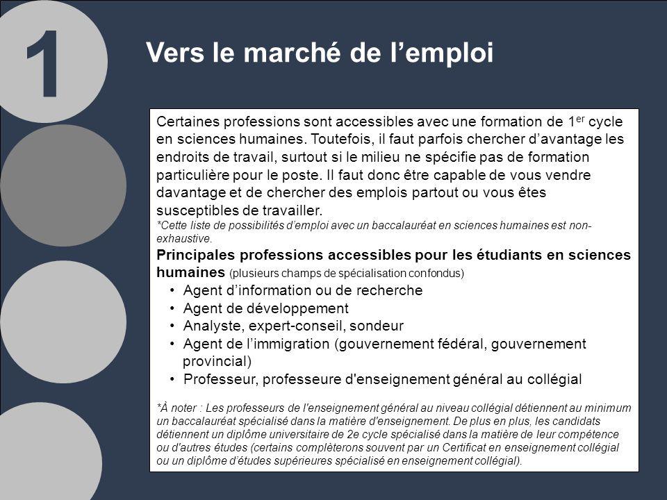 1 Vers le marché de lemploi Certaines professions sont accessibles avec une formation de 1 er cycle en sciences humaines.