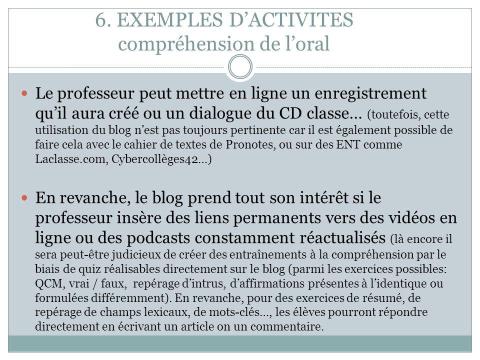 6. EXEMPLES DACTIVITES compréhension de loral Le professeur peut mettre en ligne un enregistrement quil aura créé ou un dialogue du CD classe… (toutef