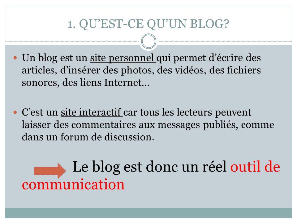 1. QUEST-CE QUUN BLOG? Un blog est un site personnel qui permet décrire des articles, dinsérer des photos, des vidéos, des fichiers sonores, des liens