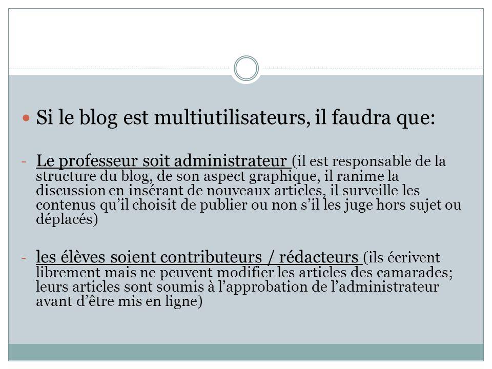 Si le blog est multiutilisateurs, il faudra que: - Le professeur soit administrateur (il est responsable de la structure du blog, de son aspect graphi