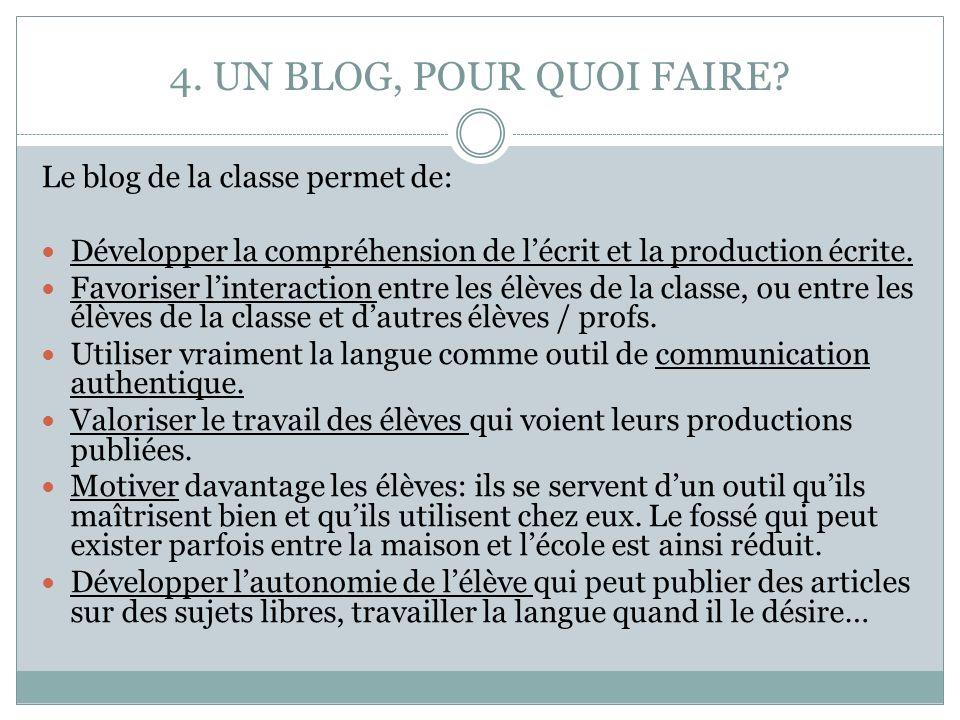 4. UN BLOG, POUR QUOI FAIRE? Le blog de la classe permet de: Développer la compréhension de lécrit et la production écrite. Favoriser linteraction ent