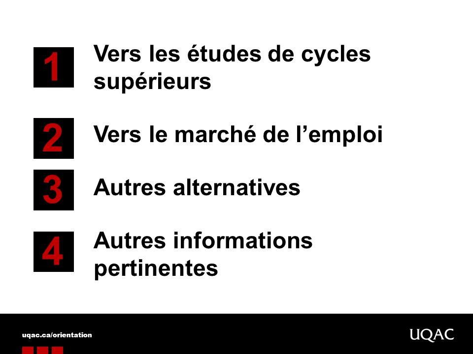 Vers les études de cycles supérieurs Vers le marché de lemploi Autres alternatives Autres informations pertinentes 1 2 3 4 uqac.ca/orientation