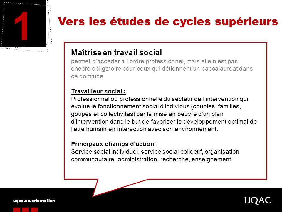 uqac.ca/orientation Vers les études de cycles supérieurs 1 Maîtrise en travail social permet daccéder à lordre professionnel, mais elle nest pas encor