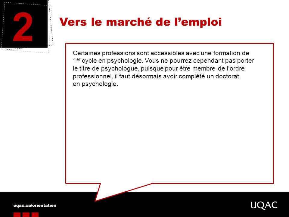 uqac.ca/orientation Vers le marché de lemploi 2 Certaines professions sont accessibles avec une formation de 1 er cycle en psychologie. Vous ne pourre