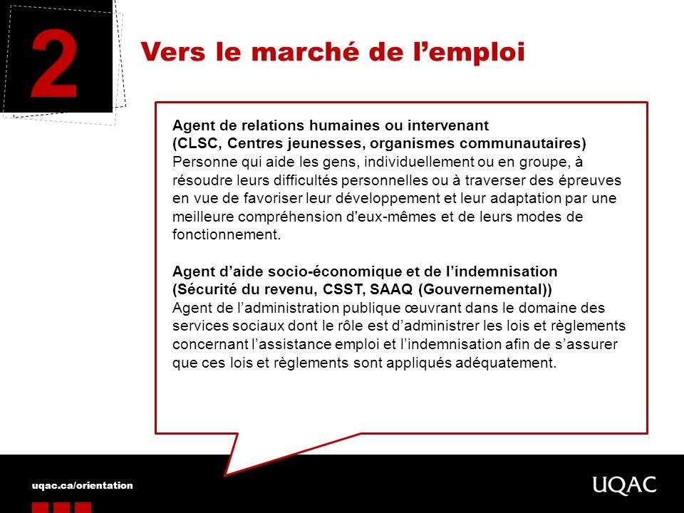 uqac.ca/orientation Vers le marché de lemploi 2 Agent de relations humaines ou intervenant (CLSC, Centres jeunesses, organismes communautaires) Person
